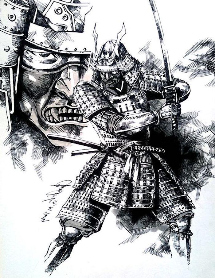 krieger tattoo vorlage, schwarz-weiße zeichnung, samurai