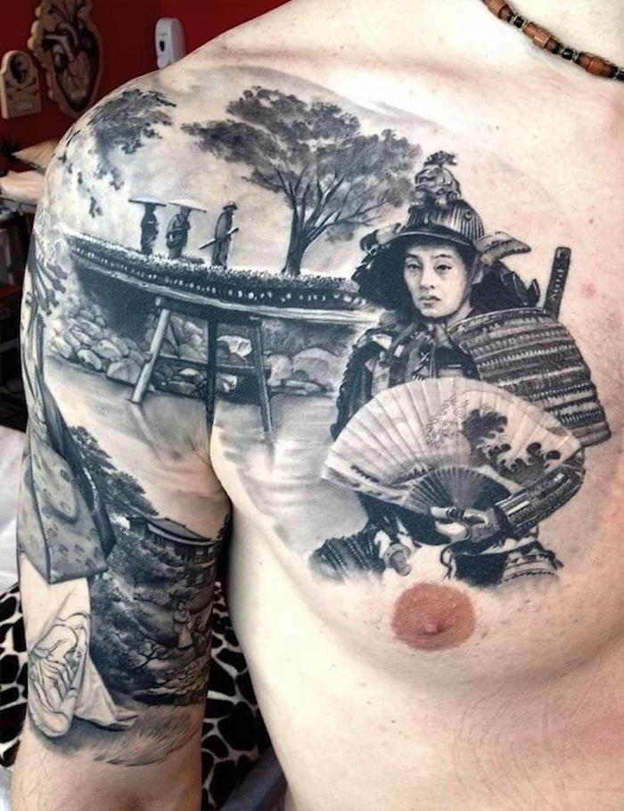 krieger tattoo, japanische tätowierung, mann, fluss, arm und brust tätowieren