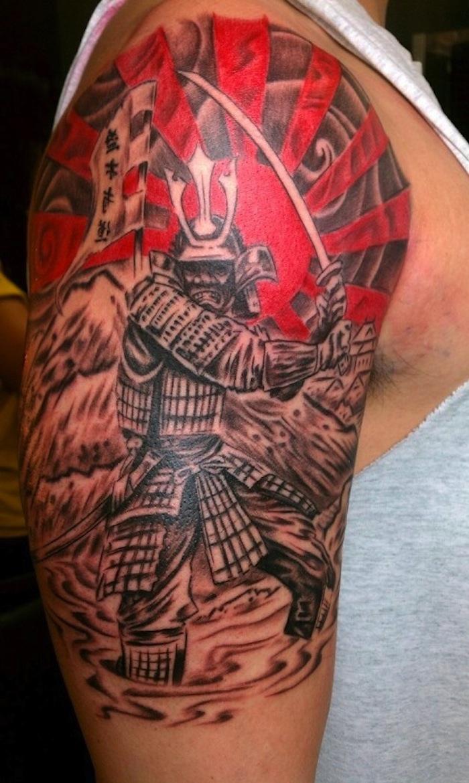 japanische krieger, rote sonne, katana, arm, armtattoo, oberarmtattoo