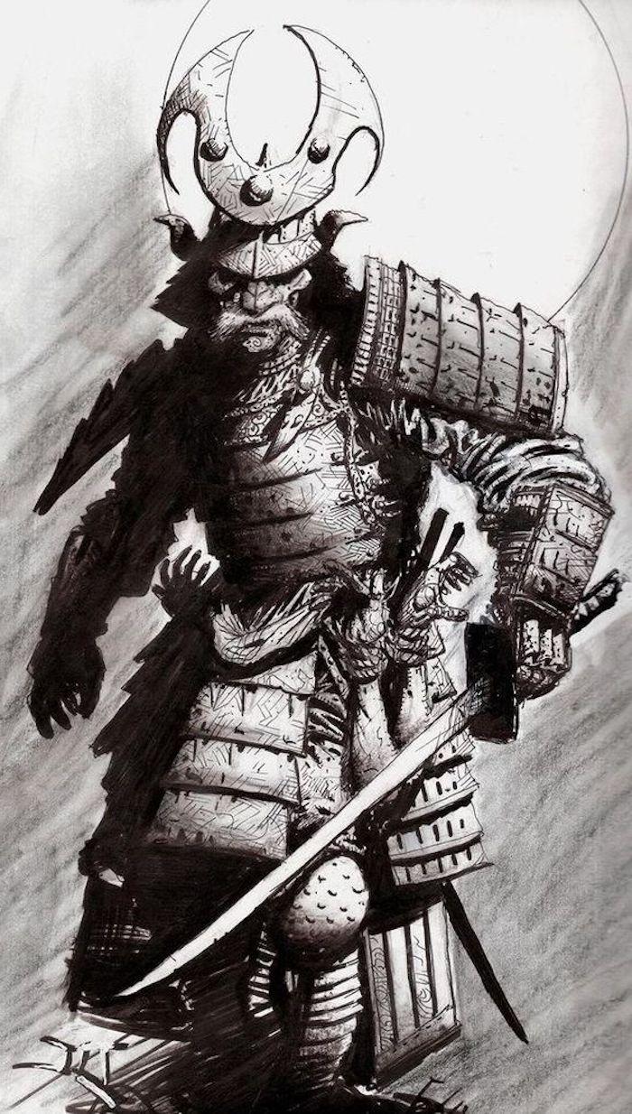 japanische krieger, schwarz-weiße zeichnung, helm, katana, ausrüstung