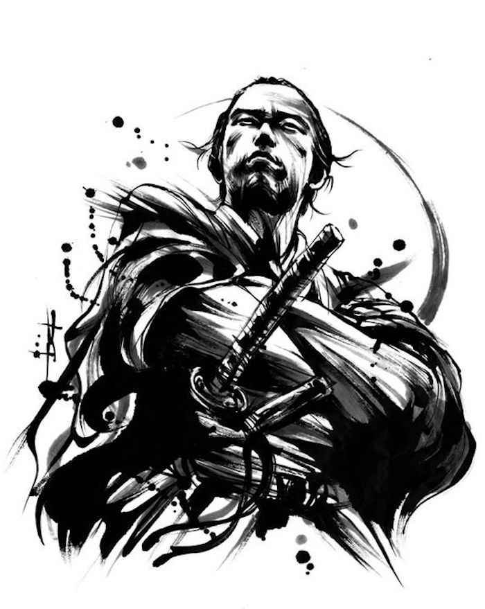 japanische krieger, schwarz-weiße zeichnung, mann, katana, samuraischwert