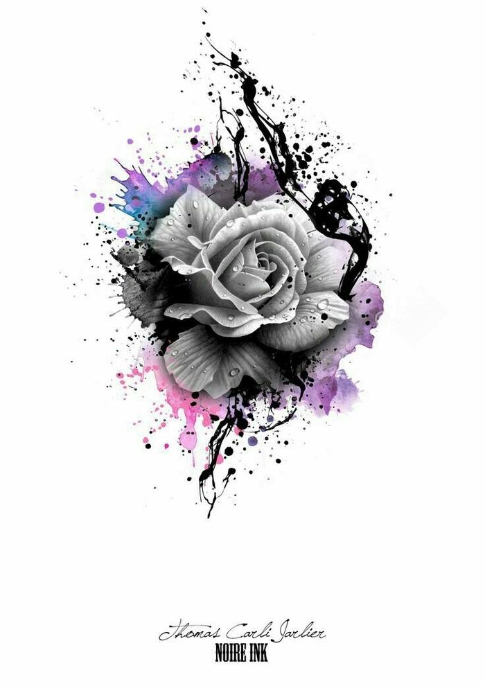 graue rose und bunte farben - rosen tattoo vorlage - idee für einen tattoo für die frauen