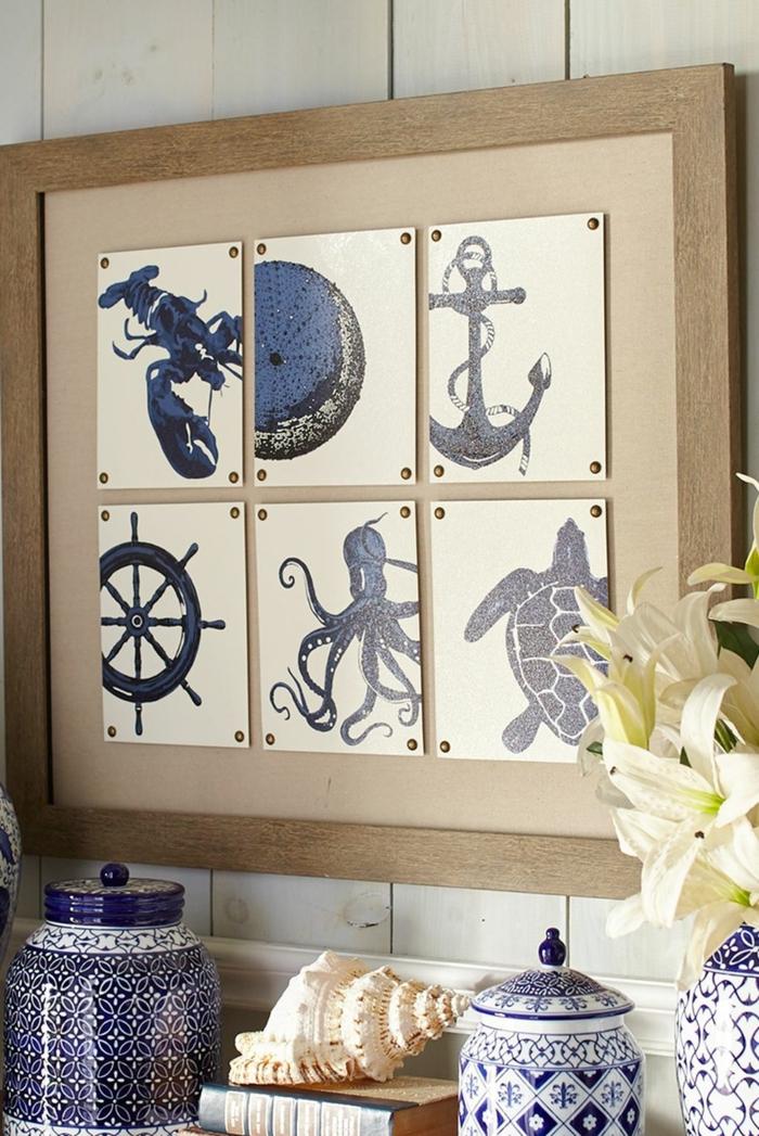 Küche maritime Wanddeko, kleine Bilder vom Hummer Anker Achtfüßsler und Sumpfschildkröte, Dosen in weiß und blau