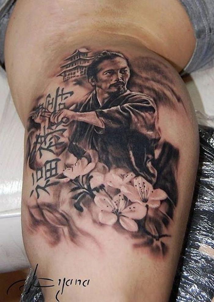 japanische krieger, blumen, mann mit langen haaren, haus