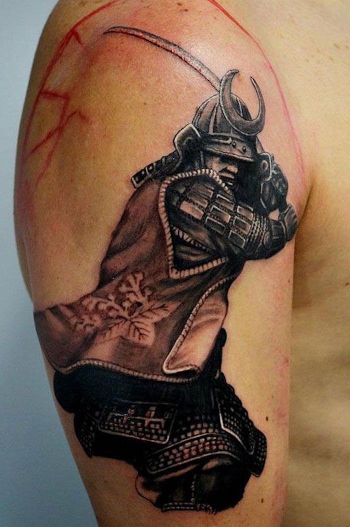 japanische krieger, katana, smuraischwert, mann, helm, ausrüstung
