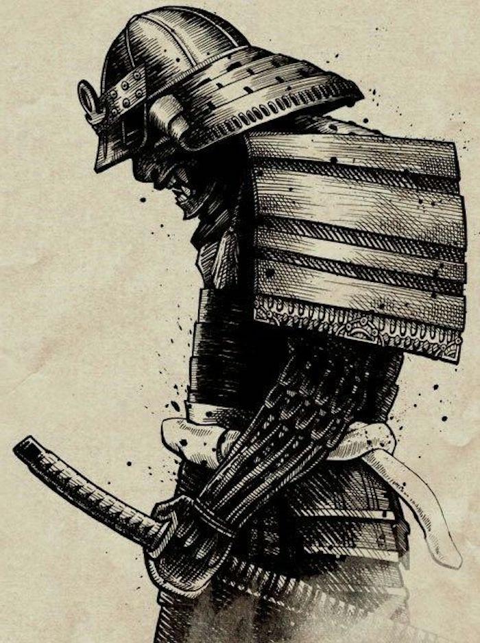 japanische krieger, schwarz-weiße zeichnung, tattoo vorlage, katana, helm, ausrüstung