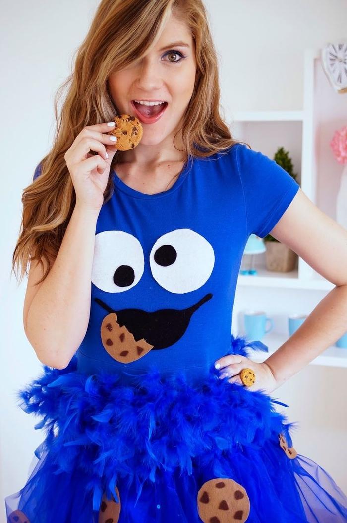 Helden aus der Kindheit Krümmelmonster Kostüm ein Kleid mit Gesicht, Kekse Muster