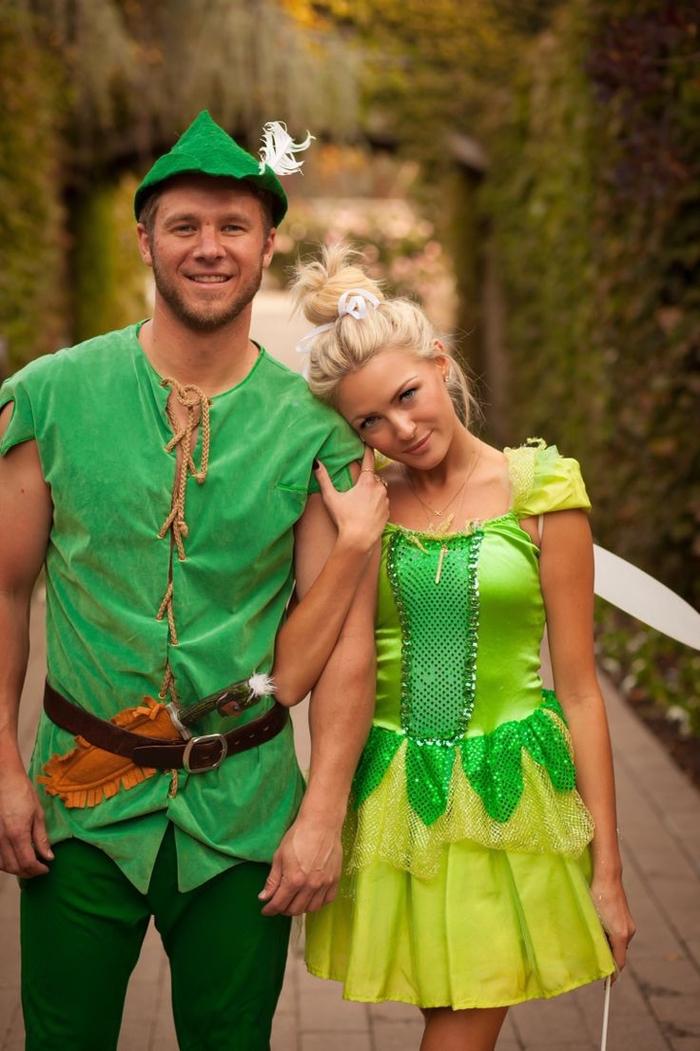 Mottowoche Kindheitshelden Peter Pan und Glöckchen grüne Kostüme für Paare