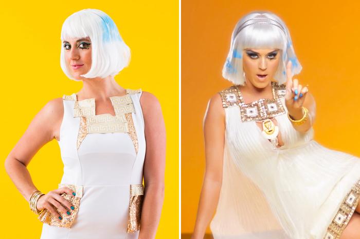 Kindheitshelden Kostüm selber machen in weißer Farbe von Katy Perry mit gefärbte Perücke