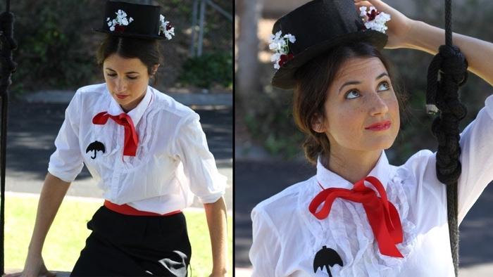 Merry Poppins mit weißer Bluse und ein Regenschirm Applikation Kindheitshelden Kostüme