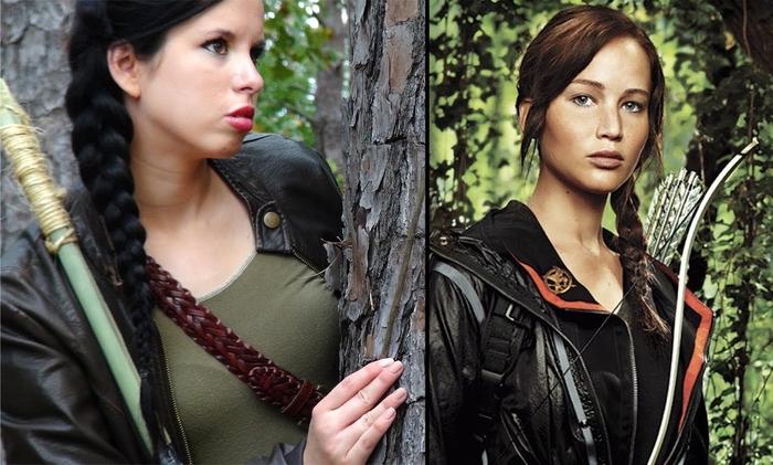 Lederjacke und grüne Bluse um Katniss Everdeen zu verwandeln - Kindheitshelden Kostüme