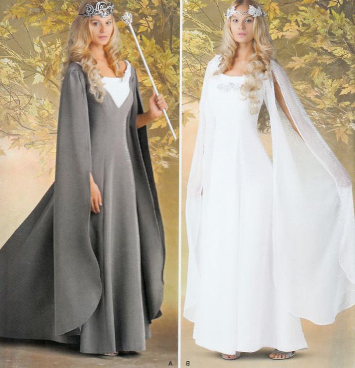 zwei Elfen Kostüme weißes und graues Kleid, zwei Diademen blondes Mädchen Kindheitshelden Kostüme