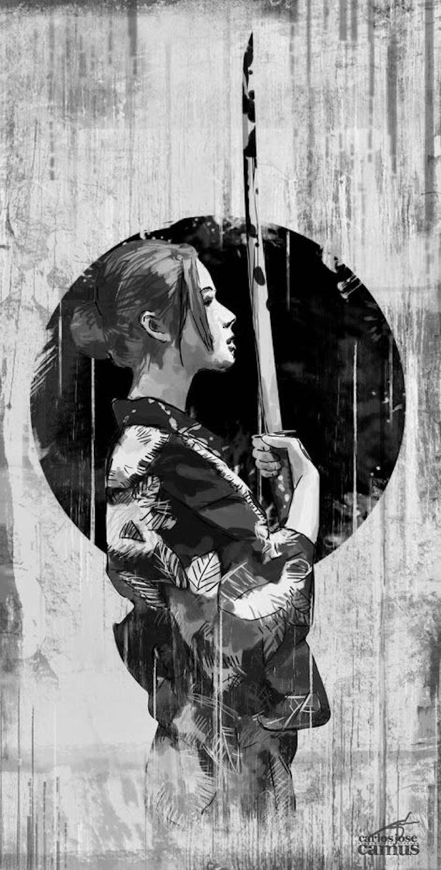 japanische krieger, katana, frau mit hochgesteckte frisur, tattoo vorlage