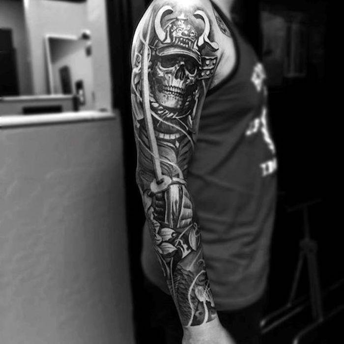 samurai maske, helm, schädel, ärmel, tattooärmel, tattoos