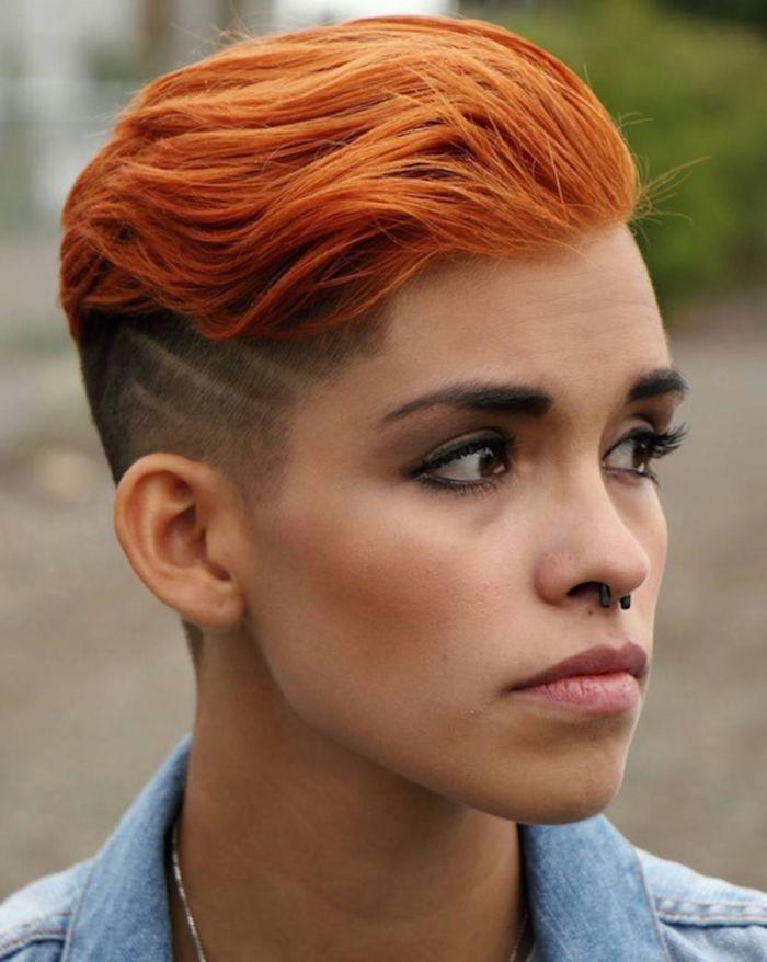 kurzhaarfrisuren 2020 damen undercut nasenring piercing dezent geschminktes gesicht frisuren für kurze haare rote haarfarbe