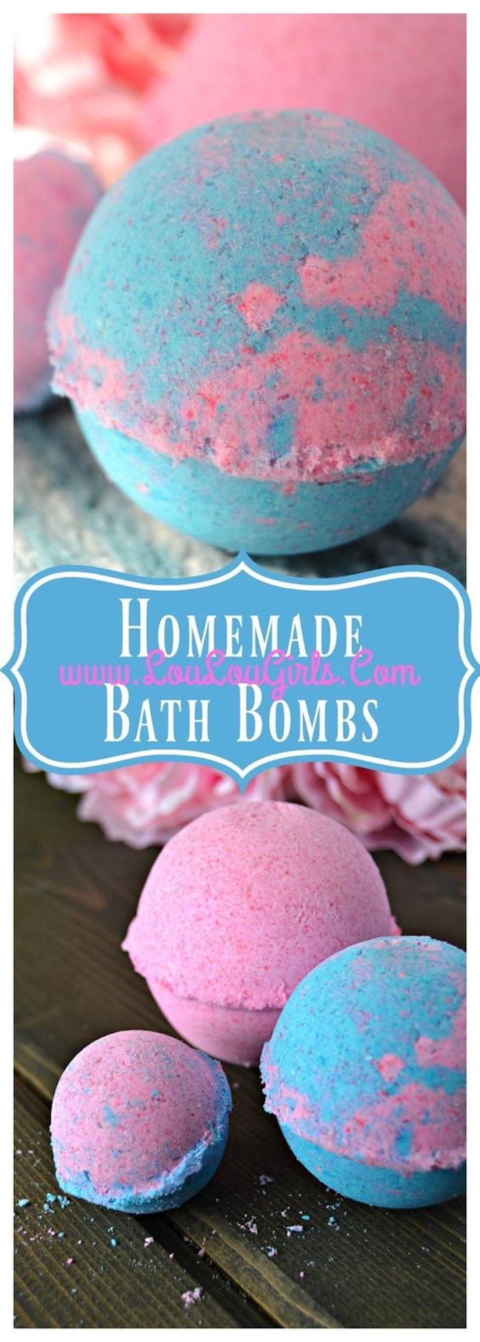 badekugeln in rosa und blau selbst herstellen, diy