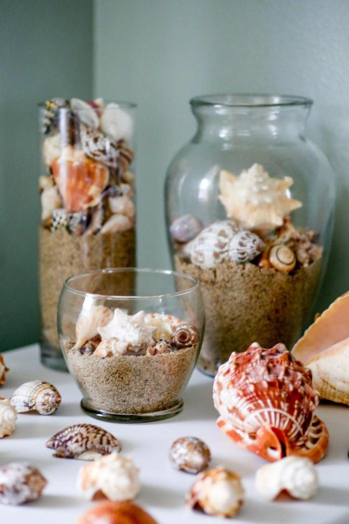 Maritime Deko Selber machen, Konservengläser gefüllt mit Sand Muscheln und großen und kleinen Stachelschnecken,