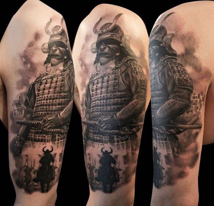 japanische krieger, arm, oberarm tätowieren, maske, helm