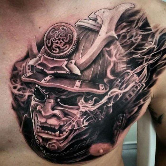 brust tätowieren, brusttattoo, maske, helm, samurai, mann