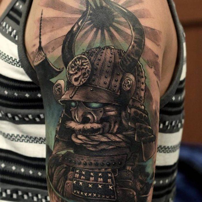 samurai maske, helm, schwarze sonne, blaue augen