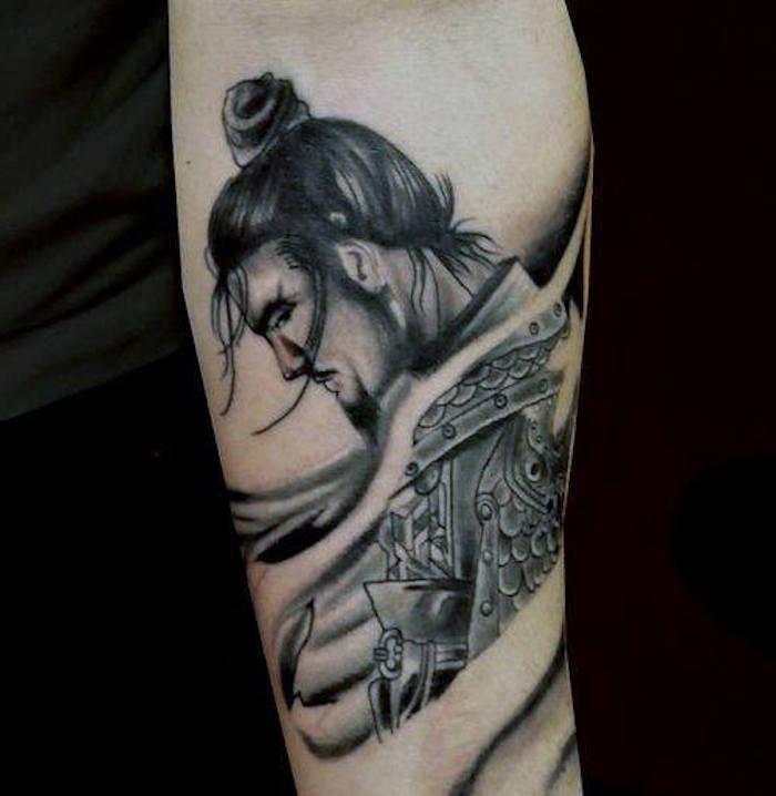 bein, beintattoo, mann mit schwarzen haaren, japanische tätowierung