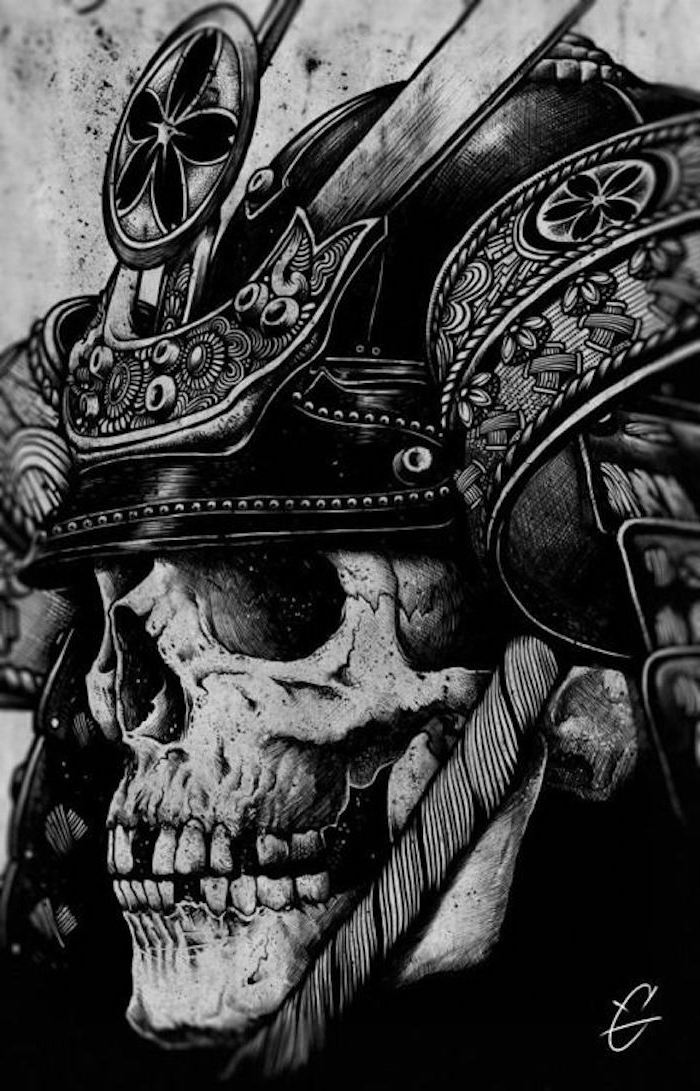 tattoo vorlage, schwarz-weiße zeichnung, helm, schädel