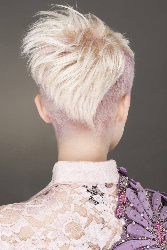 moderne frisuren für kurze haare blond mit lila haarfarbe kurzhaarfrisuren undercut damen freche frisuren kurz frisurentrends 2020