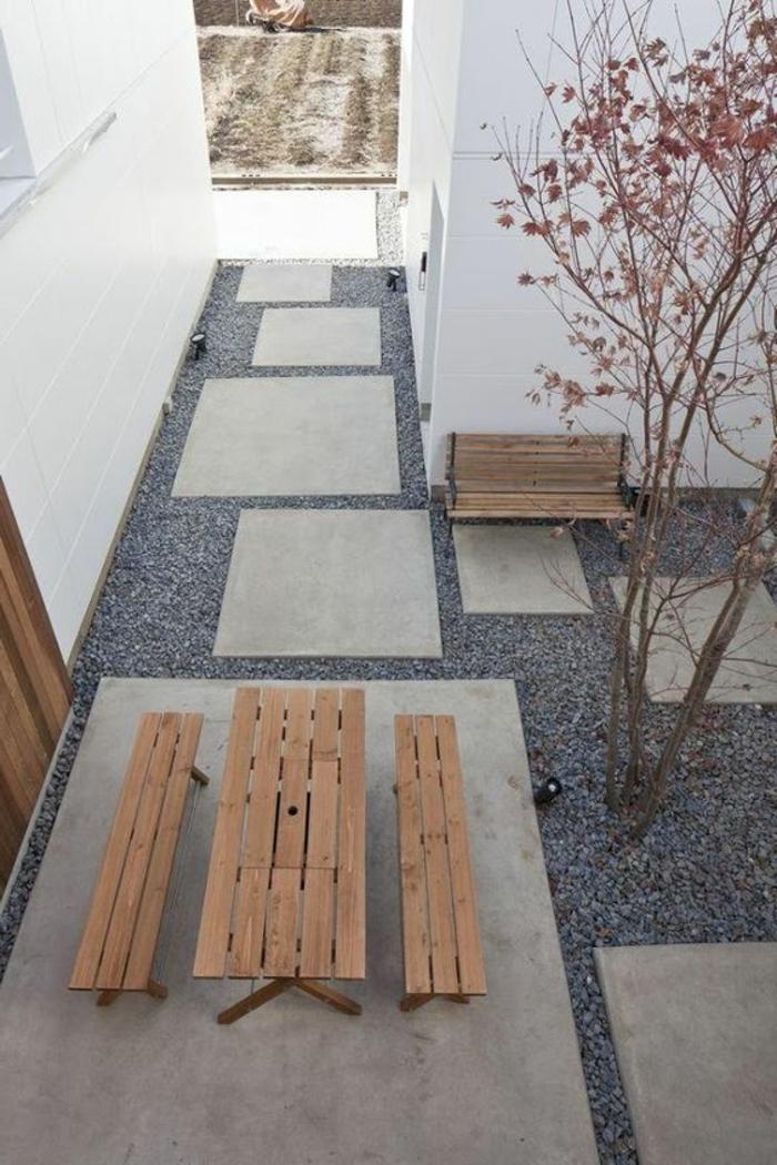 ein Foto von oben von einem minimalistischen Garten - Gartengestaltung Beispiele