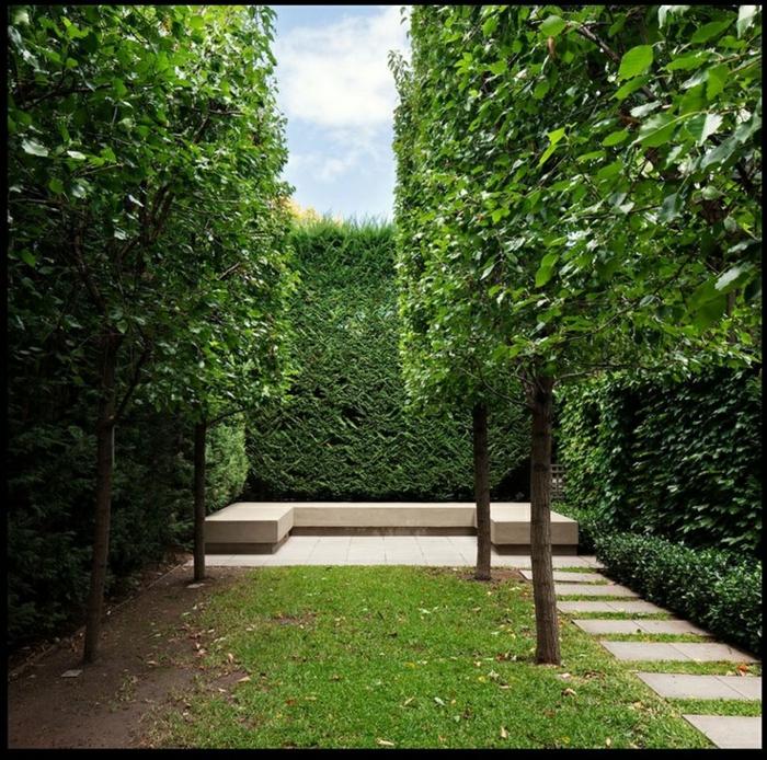 ein grüner moderner Vorgarten mit Bäume und Sichtschutz aus Hecke, Sitzecke