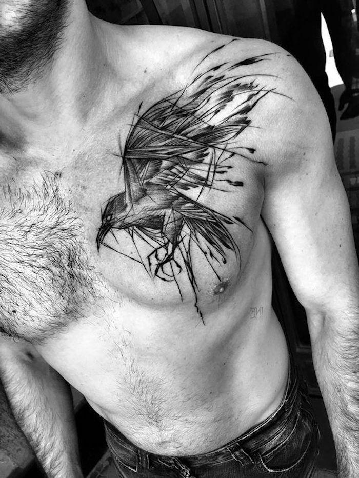 nordic tattoo, mann, vogel, tätowierung in schwaru und grau