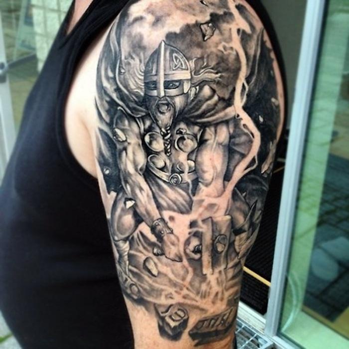 arm tätowieren, wikinger tattoo in schwarz und grau