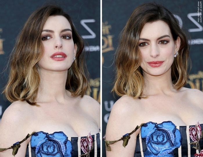 zwei Fotos von einer Schauspielerin mit ausgefallenem Kleid und Ombre Bob