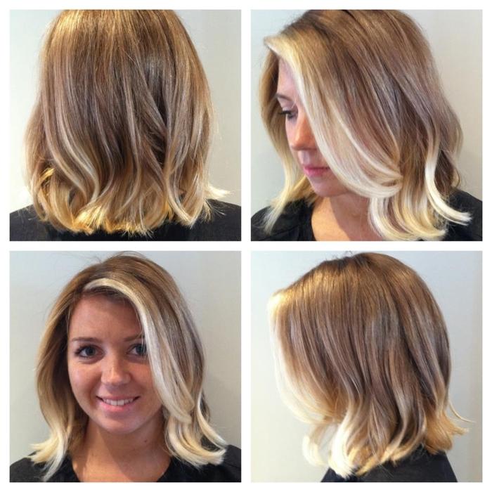 blondes Haar mittellang mit Ombra Bob wie es auf dem Kopf aus allen Seiten aussieht