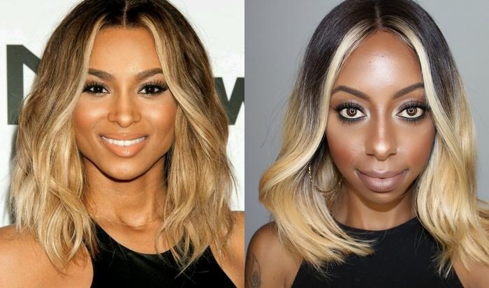 zwei Vorschläge wie man Ombre Haare tragen kann - glattes und sprödes Haar