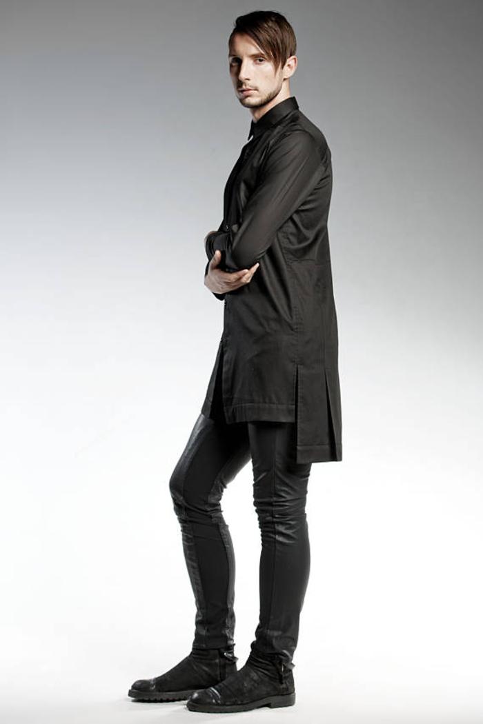 Pendari Fashion, asymmetrisches Hemd, kombiniert mit Lederhose, Herrenmode
