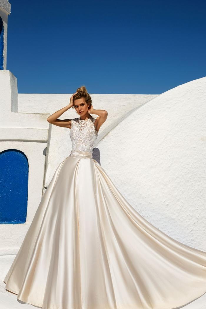 Prinzessinnen Brautkleid, Rock aus Satin und Spitzen-Oberteil, stilvoll und elegant