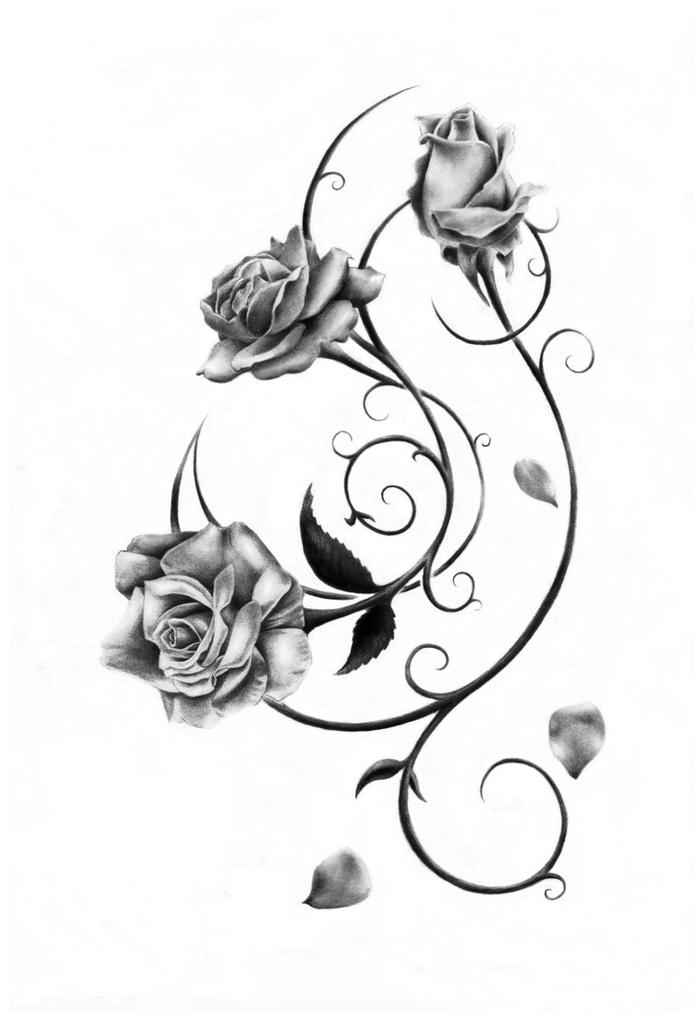 das ist eine unserer ideen für einen schwarzen tattoo - rosen tattoo vorlage