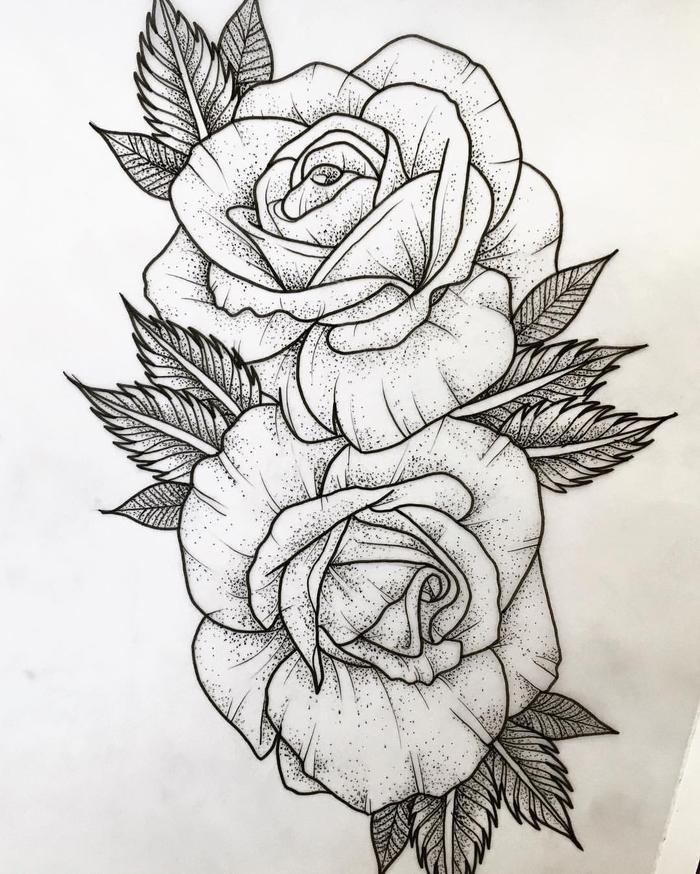 hier sind rosen tattoo vorlage - hier sind zwei große weiße rosen tätowierungen mit schwarzen blättern
