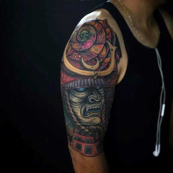 masken tattoo, helm, maske, bunte japanische tätowierung