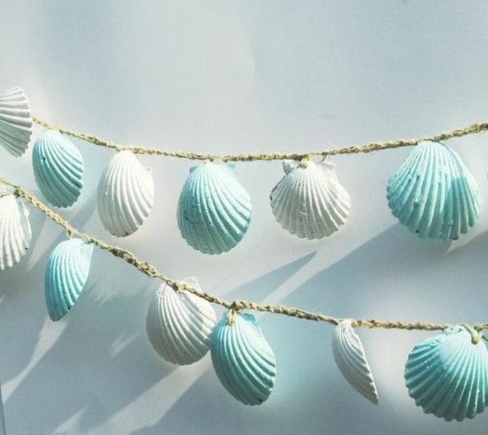 Fensterdeko Sommer Girlande aus Muscheln basteln maritime Farbennnnn