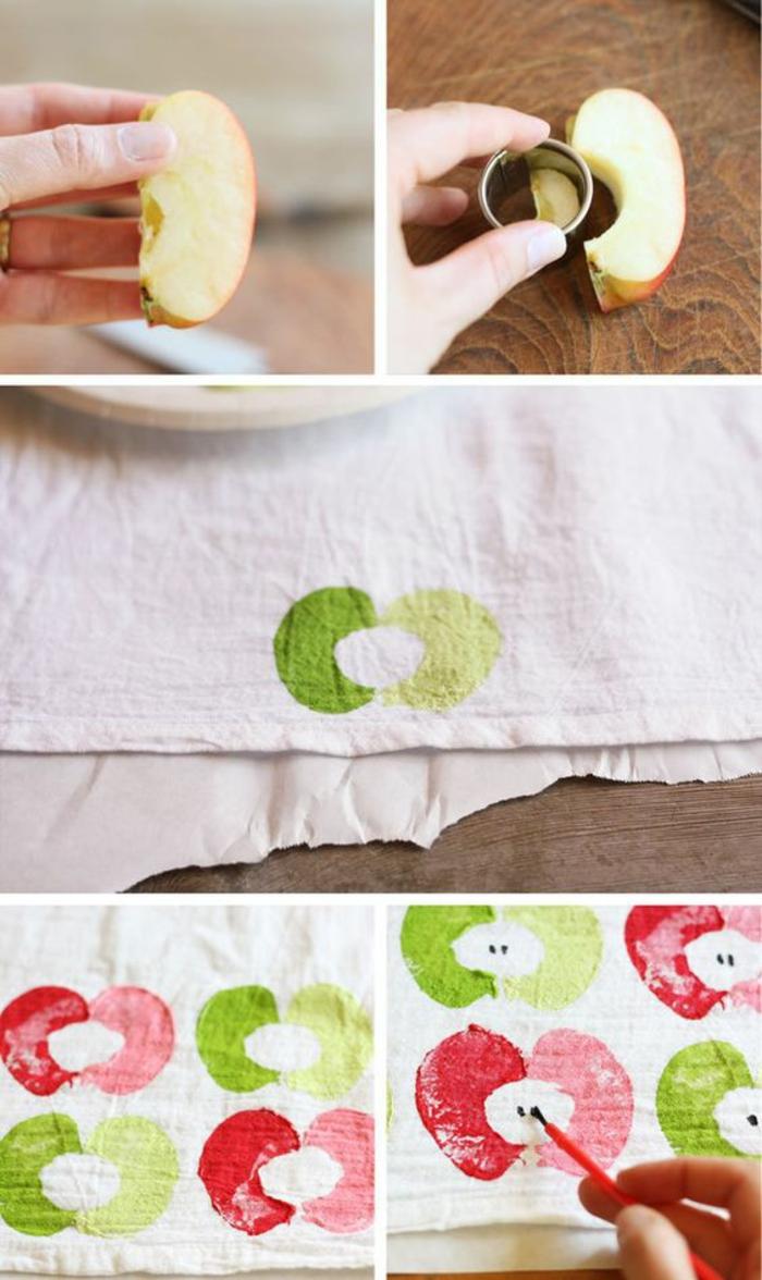 apfel schneiden, weißer stoff stempeln, pinsel, stempel aus äpfeln