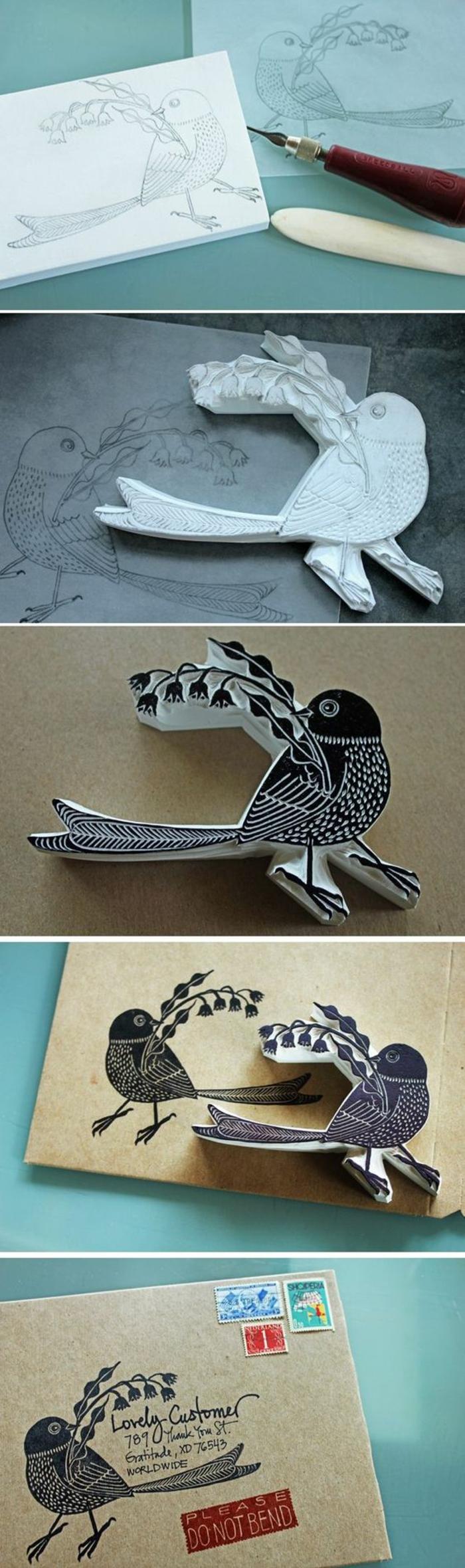 vogel zeichnen, schwammstoff, briefe dekorieren, schwarze farbe