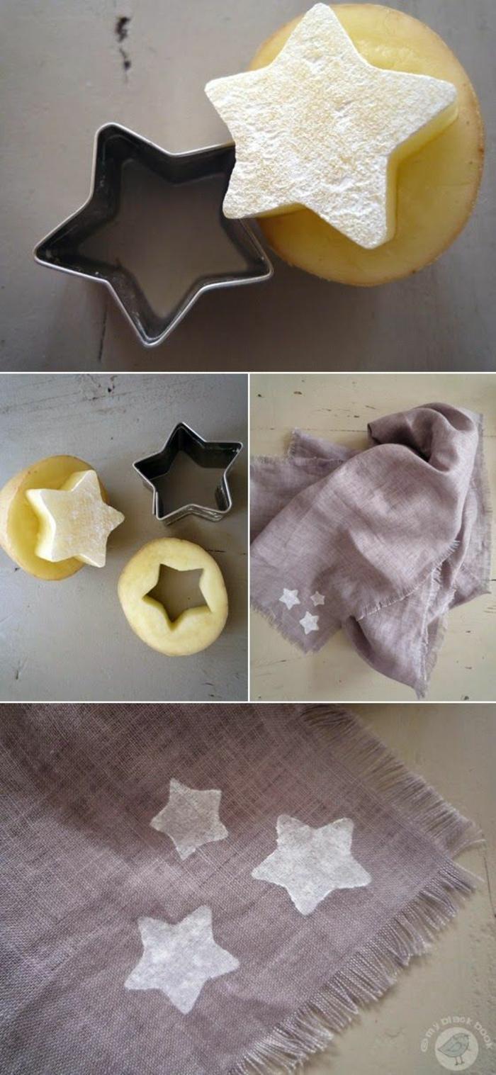 stempel in form von stern aus kartoffel selber machen
