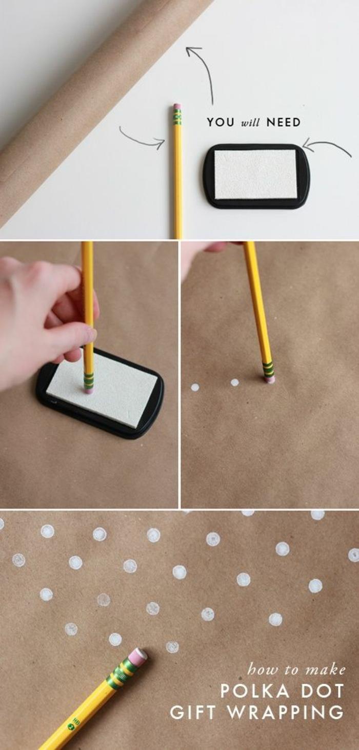 Stempel Selbst Gestalten Aus Bleistift, Geschenkpapier Bepunkten