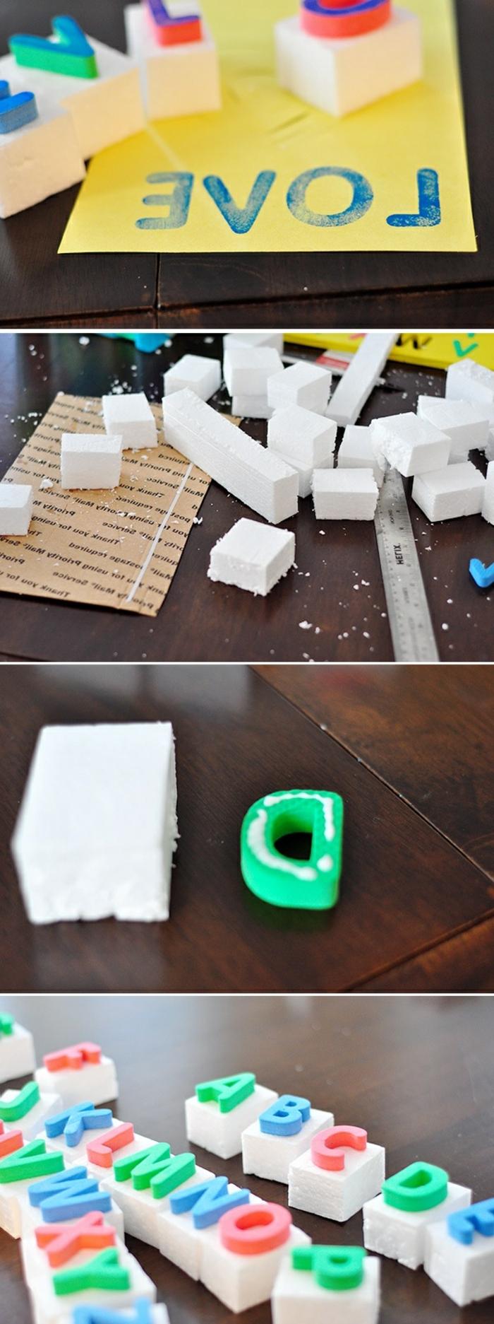 stempel mit buchstaben aus schaumstoff, papier stempeln