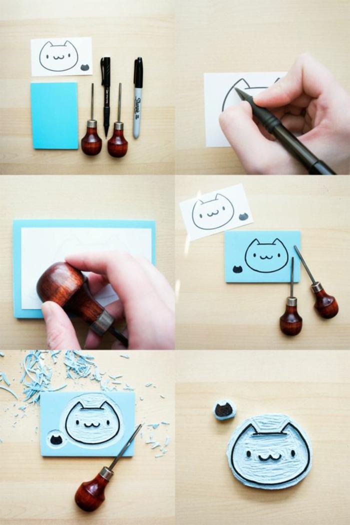Stempel Katze Selber Machen, Marker, Kugelschreiber, Katze Zeichnen