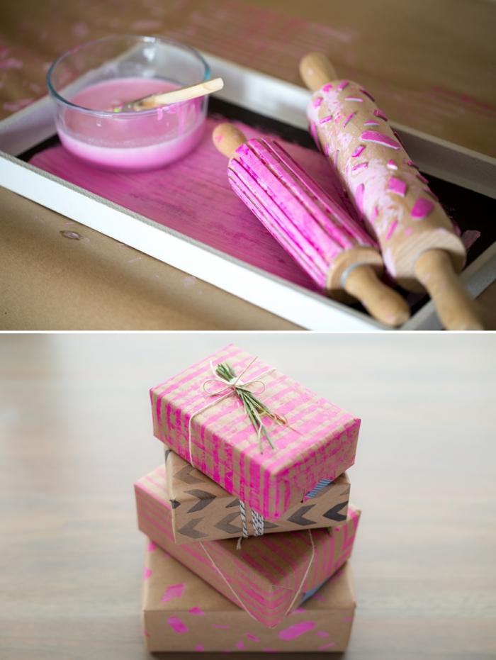 stempelroller basteln, rosa farbe, schale, geschenkverpackung dekorieren