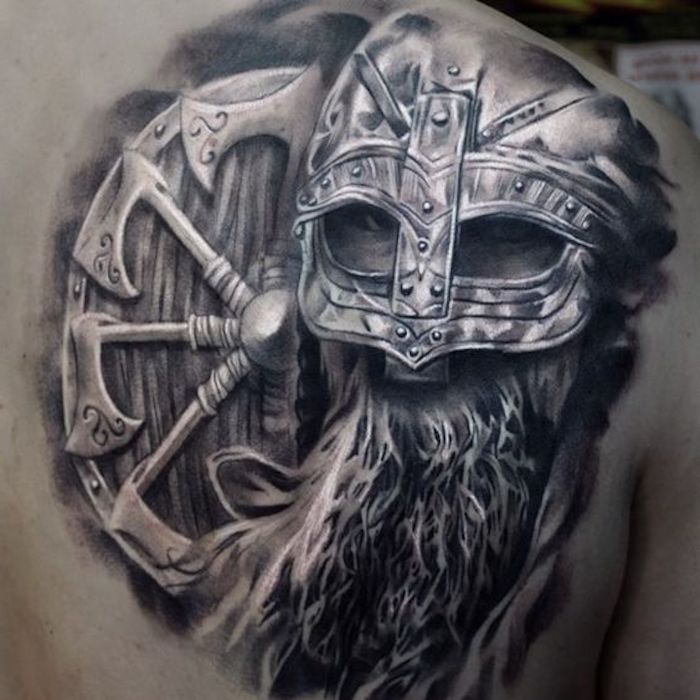 vikings tattoo, rücken, rücken tattoo, wikinger, waffen
