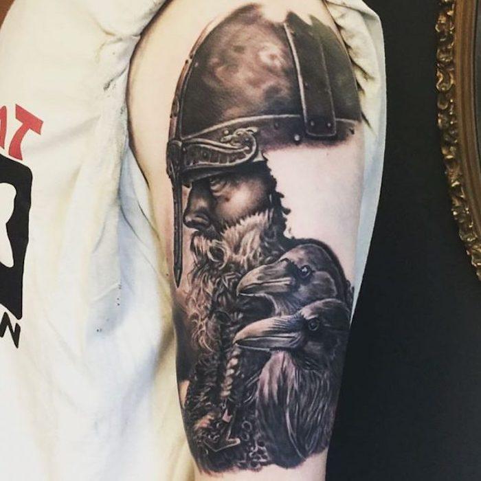 weißes t-shirt, vogel, wikinger, helm, langer bart