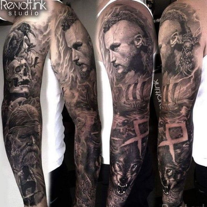 vikings tattoo, mann, wolf, vogel, tattooärmel, ärmel